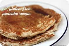 An easy Gluten Free pancake recipe with just a few ingredients. These can easily be made in bulk and frozen for future breakfasts!