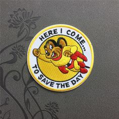 Here I Come To Save The Day Patch Individuality patches iron on patches Cartoon patch meet you on www.Fleckenworld.com