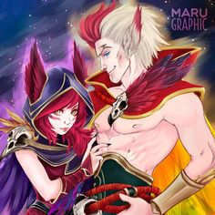 Rakan and Xayah by Marugraphic on DeviantArt League Of Legends Characters, Lol League Of Legends, Rakan Lol, Rakan League Of Legends, Character Concept, Kawaii Anime, Video Game, Knight, Daddy