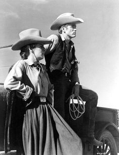 James Dean and Mercedes McCambridge on the set of 'Giant', 1955