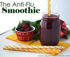 The Anti-Flu Super Smoothie! Packed with foods that are shown to have super immune benefits. #smoothies #healthykids #immunity