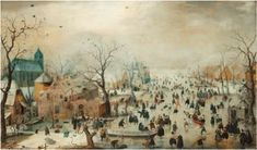 Hendrick Avercamp - Winter landscape with ice skaters ca. 1608 Framed Art Print by TheMasters - Vector Black - MEDIUM (Gallery)- Dutch Artists, Famous Artists, Paintings Famous, Dutch Golden Age, Shops, Christmas Paintings, Modern Artists, Renaissance Art, Winter Landscape