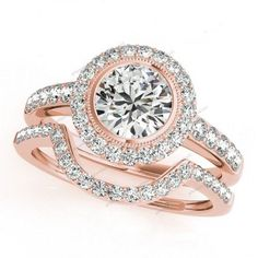 Halo 1.94 CT. 14k Rose Gold Plated Lab Created D/VVS1 Diamond Bridal Ring Set #giftjewelry22