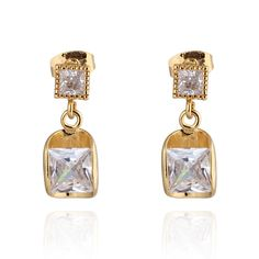 20x8.5mm 18K Gold Plated Women Cuprum Earrings With White Shiny Square Crystal