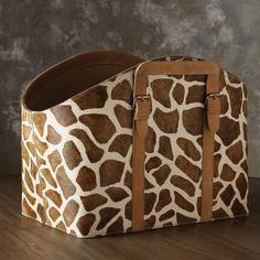 Lazy Susan Faux Pony Giraffe Print Bin from @zinc_door #zincdoor #box #storage #accessories
