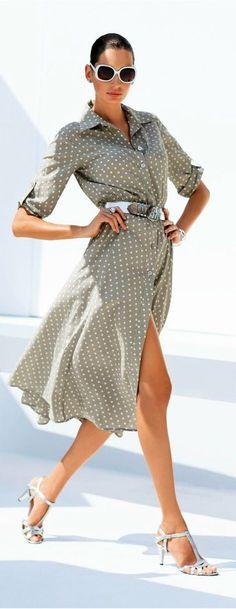 white polka dots on a taupe shirt dress
