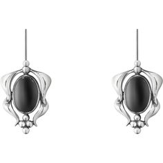 2015 HERITAGE earrings - oxidated sterling silver with black agate ($295) ❤ liked on Polyvore