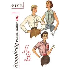 1950s Womens Blouse Pattern  Vintage Simplicity by ErikawithaK, $7.00