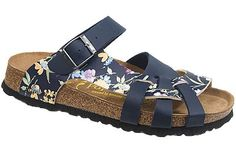 Pisa Soft Footbed Simply Flowers Blue Birko-Flor The footbed of this unique style is layered with a dense foam to give you cushioned comfort all day. It is wonderful for sensitive feet. The curved strap and woven design hug your feet and the footbed supports your arches. Resoleable. #birkenstock #birkenstockexpress.com  $99