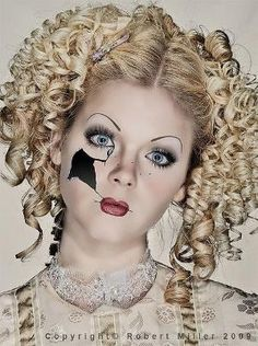 haunted house broken doll makeup - broken toys makeup for 2014 Halloween #2014 #Halloween by rosalie