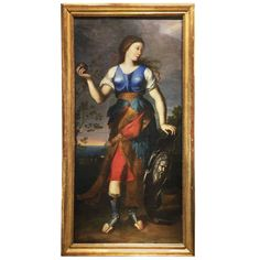55k 86.61 in.Hx46.46 in.W  16th Century Antique Italian Oil Painting of Goddess of War | From a unique collection of antique and modern paintings at https://www.1stdibs.com/furniture/wall-decorations/paintings/