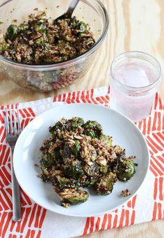 Quinoa & Brussels Sprout Salad http://www.abeautifulmess.com/2013/12/quinoa-brussels-sprout-salad.html#