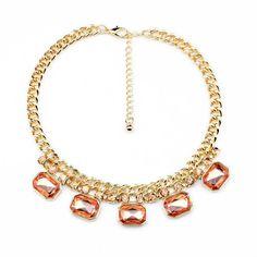 "NEW Peach Crystal Bib Necklace Statement Chain Women's Dress 18"" Adjustable lUS #JewelStorie #BibStatement"