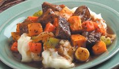 Beef Stew with Roasted Winter Vegetables This twist on traditional beef stew is a welcome addition to any winter table. The vegetables are first roasted to bring out their full flavor. Spoon piping hot stew over mashed potatoes flavored with bay leaves. Beef Soup Recipes, Vegetable Recipes, Cooking Recipes, Healthy Recipes, Vegetable Stew, Easy Recipes, Healthy Food, Dinner Recipes, Yummy Food