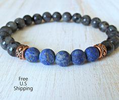 Men's bracelet Black Moonstone Lapis Lazuli by LifeForceEnergyShop