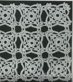 Вязание крючком узор ажурные полотна №1485 схема