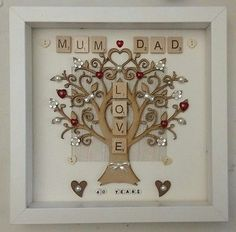 #Personalised #handmade ruby 40th wedding anniversary gift #frame - mam mum and d, View more on the LINK: http://www.zeppy.io/product/gb/2/292002201709/