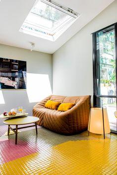 Hisbalit, firma líder en la fabricación de mosaico de vidrio, cumple 10 años en Casa Decor. ¡ Casa Decor 2016, Houzz, Interiores Design, Tree Branches, Bean Bag Chair, Mosaic Floors, Art Pieces, Flooring, Room