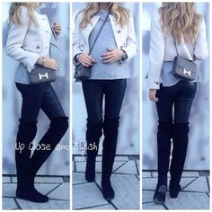 Today - jacket, knit, leather pants, suede over the knee boots and 'Constance' bag (see previous pic for Up Close). Beautiful Pregnancy, Pregnancy Looks, Pregnancy Outfits, Mom Outfits, Pregnancy Fashion, Winter Pregnancy, Maternity Clothes Online, Designer Maternity Clothes, Maternity Fashion