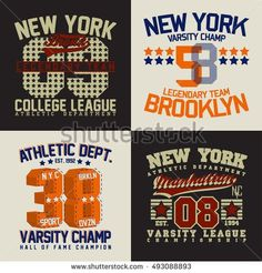 Set of t-shirt graphic designs, New York sports wear typography emblems, Creative print stamps, Vector