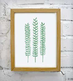 Green Fern Print | Intricate nature-inspired block print, hand-pulled in green ec... | Posters