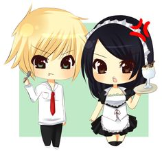 Misaki and Usui from Kaichou wa maid-sama! (The student council president is a maid!) for first out of the 15 chibi requests Q u Q