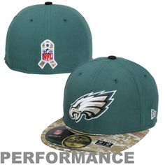 New Era Philadelphia Eagles Salute To Service On-Field 59FIFTY Fitted Performance Hat - Midnight Green/Digital Camo #SalutetoService
