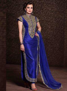USD 74.09 Dia Mirza Royal Blue Banarasi Silk Pakistani Style Suit 54619
