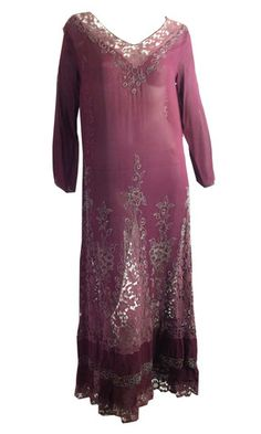 Wild Orchid Silk and Lace Beaded Gatsby Gala Gown circa 1920s - Dorothea's Closet Vintage