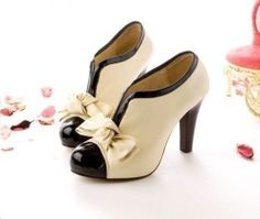 """Women's beige/off white platform ankle pumps with bow. 2 tone with black patent leather. Heel with wood look. Round toe. Slight platform. Approximate Measurements: Height:10.5cm; Platform: 3.5cm (2.54cm = 1 inch) Sizes: 4, 5, 6, 7, 8, 9, 10 Color: Black and beige Heel hieght: High/ 3""""+ M..."""