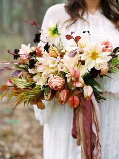 fall wedding bridal bouquet with white, rose and red colored florals and foliage, burgundy blush and beige ribbons for this fall bouquet Bridal Bouquet Fall, Fall Wedding Bouquets, Fall Wedding Flowers, Wedding Flower Arrangements, Flower Bouquet Wedding, Bridesmaid Bouquet, Floral Wedding, Wedding Colors, Bridesmaids