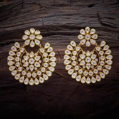 a7c1b0cd1 Designer kundan earrings studded with white stones, plated with gold polish  and made of copper