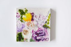 Tiny Floral Oil Painting Original // 7x7cm on Canvas & Easel by Katie Jobling  These are adorable mini oil paintings and they are just so cute! I love…