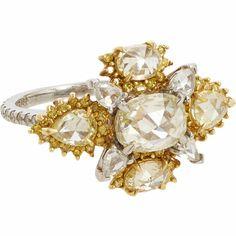 ooo, ahhh. Sharon Khazzam Multicolor Diamond, Platinum & Gold Chellia Ring at Barneys.com