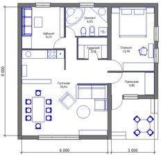 Проект дешёвого дома - второй вариант трансформации Little Houses, Planer, House Plans, Interior Decorating, Villa, Floor Plans, House Design, How To Plan, Small Houses