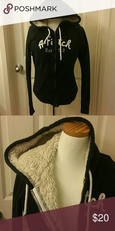 Abercrombie and Fitch fleece lined hoodie sz. M Abercrombie and Fitch fleece lined hoodie size medium. Navy blue. In excellent condition. Runs small Abercrombie & Fitch Tops Sweatshirts & Hoodies