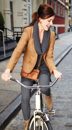 Cute outfit, I don't know that the skirt is appropriate for bike riding though!