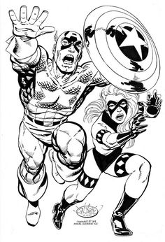 Captain America & Diamondback commission by John Byrne. Comic Book Artists, Comic Book Characters, Marvel Characters, Comic Books Art, Comic Art, Marvel Comic Universe, Marvel Art, Marvel Dc Comics, Detective