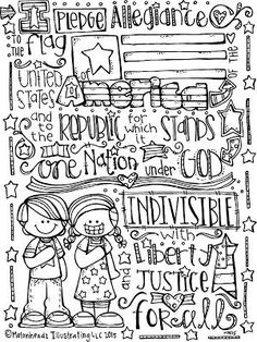 pledge of allegiance coloring page melonheadz illustrating - Thank You Coloring Pages