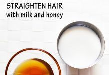 Straighten hair naturally with milk and honey