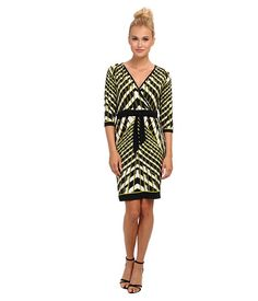 Calvin Klein Calvin Klein  Sleeve Printed Wrap Dress Citron Womens Dress for 52.99 at Im in!