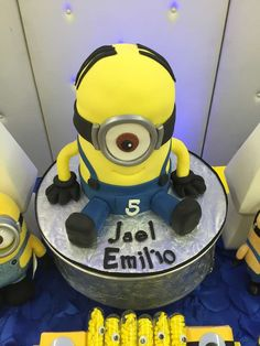 Fun cake at a Minions birthday party! See more party planning ideas at CatchMyParty.com!