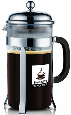 SterlingPro 8 Cup (1 liter, 34 oz) French Coffee Press-#1 With 2 BONUS Screen FREE(over $25 value)-Durable Coffee & Espresso Maker with ...