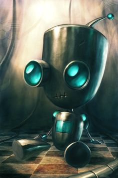 Invader Zim - Gir Why was there bacon in the soap? Arte Robot, Robot Art, Robots Drawing, Art Drawings, Johnny The Homicidal Maniac, Sculpture Metal, Monster, Cute Art, Fantasy Art