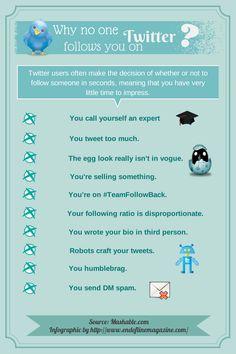 "This #infographic will highlight the ""don'ts"" concerning your profiles' appearance on #Twitter and maybe it will help you find out why people don't follow you back. Do you have anything to add?"