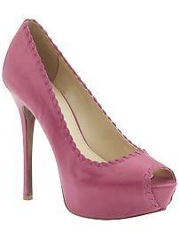 Pink open toe pumps... love