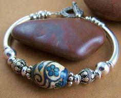 Kayla Bangle Bracelet - Lampwork Glass Bead Sterling Tube Bracelet