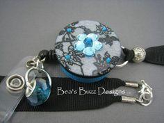BLUE SILK - Retractable Badge Reel - Id Holder - Rn - Lanyard - Badge Clip - Designer Badge Holder - Button id Badge - Nurse Jewelry - RN