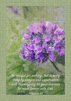 Philippians 4v6 Textured Floral by Debbie Nobile