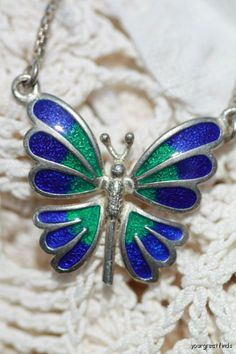 Vintage Sterling Silver Blue and Green Enamel Decorated Butterfly Necklace.